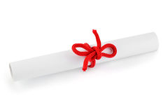 Paper scroll and bow Royalty Free Stock Photos