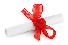 Paper scroll and bow Royalty Free Stock Image