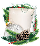 Paper scroll with Christmas ball Stock Image