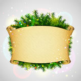 Paper scroll for christmas list with pine branches Royalty Free Stock Photos