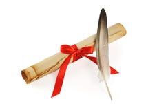 paper scroll för fjäder Fotografering för Bildbyråer