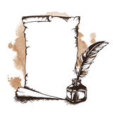Paper scroll, feather and inkwell. Vector illustration Royalty Free Stock Image