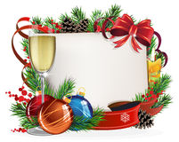 Paper scroll with glass of champagne and Christmas balls Royalty Free Stock Images