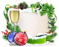 Paper scroll with glass of champagne and Christmas ornaments. Christmas wreath with baubles, parchment and glass of champagne on a white background Stock Photography