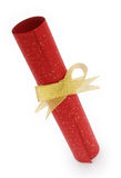 Paper scroll and gold bow Stock Images