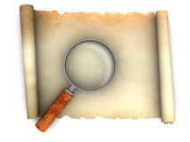 Paper scroll and magnify glass Stock Images