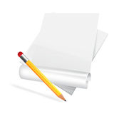 Paper scroll with pensil. Stock Photos