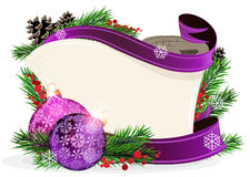 Paper scroll with purple ornaments Stock Photos