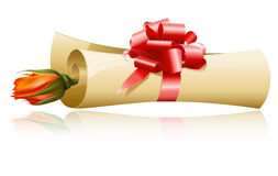 Paper scroll with red gift bow and rose. Stock Image