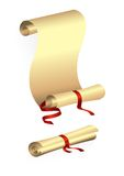 Paper scroll with red ribbon Stock Photos