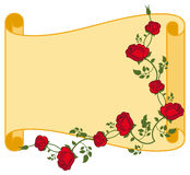 Paper scroll with red roses. Stock Photos