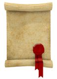 Paper scroll with red wax seal stock photo
