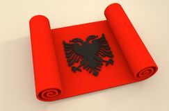 Paper scroll  textured by Albania flag Royalty Free Stock Photo