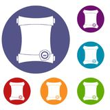 Paper scroll with wax seal icons set Stock Photography