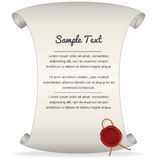 Paper Scroll with Wax Seal. Vector Graphics Royalty Free Stock Images
