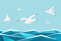 Paper sea with birds. Vector origami gulls above waves  background Stock Image