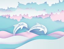 Paper sea waves and couple of dolphins. Paper cut deep style vector. Marine wildlife. Origami style with wavy lines, bubbles, flu. Ffy clouds in pastel colors vector illustration