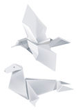 Paper_seal_and_bird. Illustration of folded paper models, seal and bird on white background. Vector illustration Stock Image