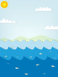 Paper seascape with fish Stock Photo