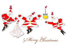 Paper Set of dancing Santa Claus. With a Christmas tree Royalty Free Stock Images