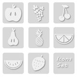 Paper set of fruits icons. Papery stickers with apple, grape, cherry, pear, ananas, orange, watermelon, strawberry Stock Photo