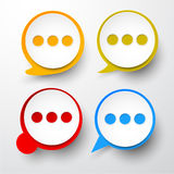 Paper set of round speech bubble. Vector illustration of paper round speech bubbles. Eps10 stock illustration