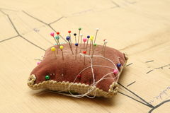 Paper Sewing Pattern and Pin Cushion Stock Photos