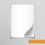A4 paper with shadow design template, vector.  Royalty Free Stock Photos