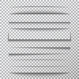 Paper shadows set on transparent background. Page divider with shadows. Realistic paper shadow line effect on checkered. Backdrop. Sheet of paper. Design for stock illustration