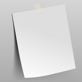 Paper sheet attached by scotch tape to the wall Royalty Free Stock Image
