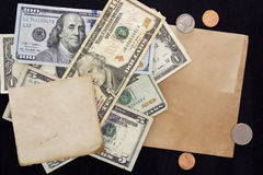 Paper sheet on background of dollars Royalty Free Stock Image