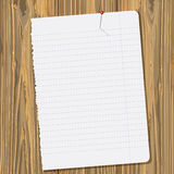 Paper sheet. Background with paper sheet on old wooden planks. vector illustration Stock Photo