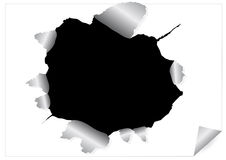 Paper sheet with black ragged hole Stock Photography