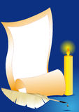 Paper sheet, candle and feather Royalty Free Stock Images