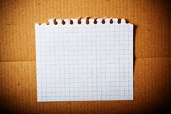 Paper sheet on cardboard. Stock Image