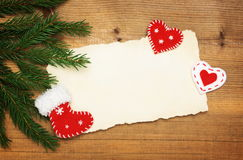 Paper Sheet with Christmas tree and  felt decorations Royalty Free Stock Photo