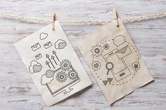Paper sheet on clip. Mixed media Royalty Free Stock Image