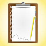 Paper sheet on clipboard. The document paper sheet on clipboard and pencil Stock Photography