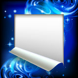 Paper sheet cut framed with a blue abstract luminous fantasy bac Royalty Free Stock Photo
