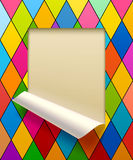Paper sheet cut framed and partially rolled up  Royalty Free Stock Images