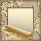 Paper sheet cut framed  and partially rolled up with old geograp Stock Image