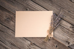 Paper sheet and dried lavender bouquet Stock Image
