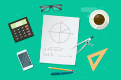 Paper sheet with geometry math formulas and drawing graphs, ruler, pen, pencil vector, school lesson study objects Stock Photos
