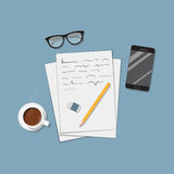 Paper sheet and glasses Stock Photos