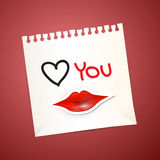 Paper Sheet with Love You Title Stock Image