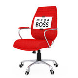 Paper Sheet with Mega Boss Message over Black Leather Boss Offic. E Chair on a white backgroundl. 3d Rendering Stock Photo