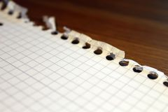 A paper sheet from a notebook for notes in a cage lies on the table royalty free stock image