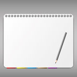 Paper sheet and nut. Pencil and bookmark in notebook Royalty Free Stock Photo