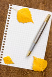 Paper sheet with pen and autumnal leaves Royalty Free Stock Images
