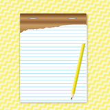 Paper sheet with pencil. On abstract background Royalty Free Stock Photo